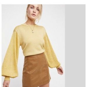Free People Let It Shine metallic Gold Pullover